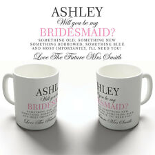 PERSONALISED I'LL NEED YOU BRIDESMAID COFFEE MUG TEA CUP WEDDING HEN PARTY GIFT