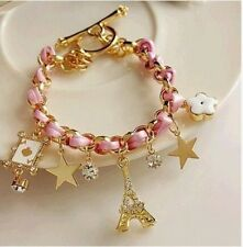 new women 's iron tower star flowers poker leather rope love bracelet Anklets