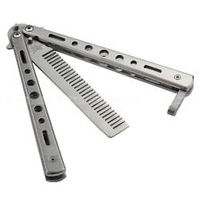Stainless Steel Butterfly Knife Comb Metal Practice Training Comb Outdoor Camp