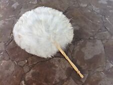 Vintage Real Feathers Hand Fan With Handle