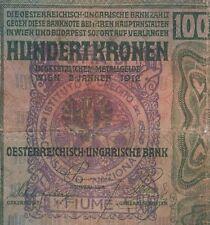 AUSTRIA FIUME BANKNOTE - 100 KRONEN 1912 CITTA DI FIUME Consiglio Nazionale !