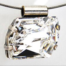Halsreif Edelstahl-Reif Kette + Anhänger Swarovski Kristall – Crystal  – klar