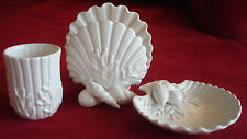 NEW Shell/ocean themed Fitz & Floyd bathroom accessories, cup, soap dish, towel