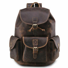 Men's Vintage Leather Multifunctional Backpack Travel School Rucksack Laptop Bag