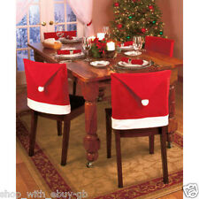 PACK OF 4 CHRISTMAS SANTA HAT DINING CHAIR COVERS XMAS DECORATION- UK SELLER