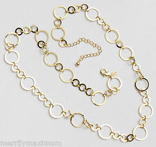 Chico's Signed Rudy Necklace Pretty Gold Tone Rings Long Chain
