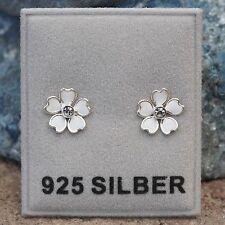 NEU 925 Silber BLÜTEN OHRSTECKER weiß STRASSSTEINE kristallklar OHRRINGE Blüte
