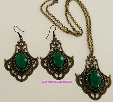 TUDOR MEDIEVAL GOTHIC RICH EMERALD GREEN EARRINGS & NECKLACE SET LARP REN  SCA