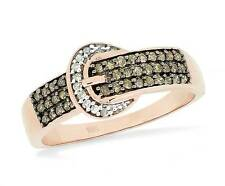 Cute! 100% 10K Rose Gold Chocolate Brown & White Diamond Belt Buckle Ring .25ct