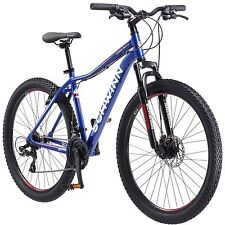 "27.5"" Schwinn Wide Tire Men's Mountain Bike 21 Speed Blue Bicycle All Terrain"