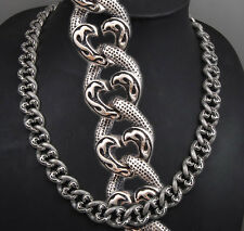 """20"""" 209g HEAVY TRIBAL CURB 925 STERLING SILVER MENS BIKER NECKLACE CHAIN pre"""