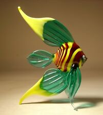 "Blown Glass Figurine  ""Murano"" Aqua & Yellow Angelfish with  Striped Body FISH"