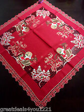 Santa Claus Clause Sleigh Holiday Christmas Table Linen Topper Decor Square NEW