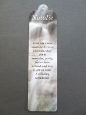 BOOKMARK NATALIE Name Meaning New Gift BIRTHDAY CHRISTMAS Thankyou Present