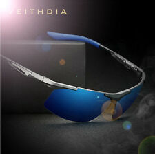Aluminium HD Polarized Sunglasses Men Driving Fishing Mirrored Eyewear Blue Lens