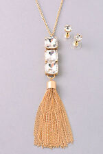 Gold and Clear Crystal 3 Stone Tassel FASHION Necklace Set
