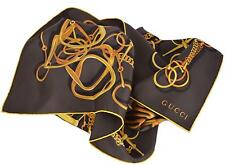 New Gucci Women's 251146 BLACK and Gold Silk Horsebit Chain Twill Neck Scarf