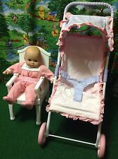 Bitty Baby Bundle - American Girl Bitty Baby Doll, Stroller & Chair - Lot Of 3!