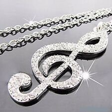 Brand New Silver Plated Music Note Pendant Necklace (N093)