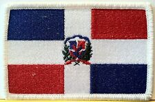 REPUBLICA DOMINICANA FLAG  Iron On Patch Military  Emblem White Border