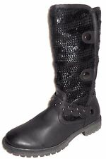 NEW MUK LUKS BLACK FAUX LEATHER & KNIT MID CALF BOOTS 9 M