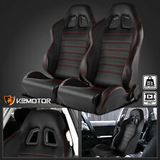 Pair Black Speed Racing Seats Reclinable Style+Red Stitch Strips