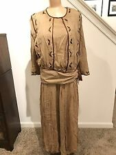 LOVELY ANTIQUE EDWARDIAN SILK GOLD/BROWN EMBROIDERED LAWN DRESS w PANELS- LARGE