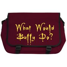 What Would Buffy Do Burgundy Messenger Flight Bag vampire slayer joss whedon NEW