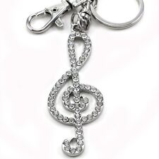 Musical Music Note Treble Clef Keychain Key Ring Charm Car Accessory Silver Tone