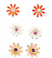 Very pretty enamel stud daisy earrings, 50s 60s retro, multiple colours