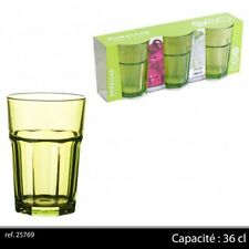 Coral Fluorescent Green Coloured Glass 360cc / 12.25oz (pack of 3) NEW