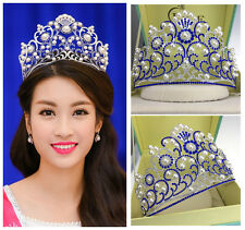 Luxury Blue Crystal Pearl Queen Crown Wedding Bridal Pageant Headband Tiara Band