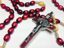XXL RED WOODEN Rosary blessed by Pope Francis in Rome Italy photo, bag and COA