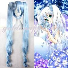 "47""120cm Vocaloid Snow Miku Light Blue +2 Clip  Long Curly Ponytail Cosplay Wig"