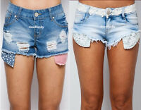 WOMENS LADIES DENIM LACE AMERICAN SORTS HOT PANTS SIZE 6-14