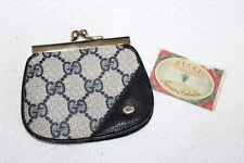 Authentic Vintage GUCCI Leather/Canvas Monogram Coin Purse Navy Blue GG Monogram