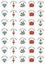 Tattoo Style Happy Mail Stickers 175 Paper Rounds 37mm 5 a4 sheets Goth Fun
