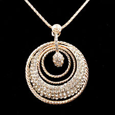 Fashion gold-plated Rings pendant Crystal Sweater chain Long Necklace NN212