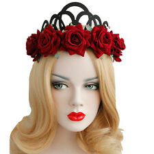 Women Crown Hairband Bridal Party Rose Flower Headband Garland Hair Hoop Band