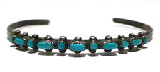 OLD SOUTHWESTERN NATIVE AMERICAN STERLING SILVER TURQUOISE CUFF BRACELET 6.25""