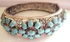 52g Vintage Sterling Silver Intricate Turquoise Statement Bangle Victorian style