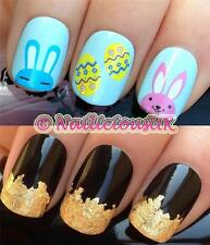 NAIL ART SET #169. EASTER EGGS/BUNNY WATER TRANSFERS/DECALS/STICKERS & GOLD LEAF