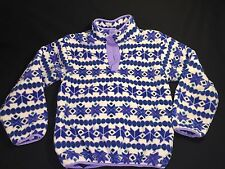 L.L. LL BEAN Youth L Kids Snap Neck Pullover Fleece Jacket Purple Blue White USA