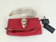 NWT THOMAS WYLDE RED LEATHER GOLD SKULL FOLDOVER CLUTCH HANDBAG with GOLD CHAIN