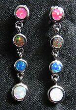 """Silver 925 Filled Post Earrings White Pink Orange Blue Lab Fire Opal 1 3/8"""""""