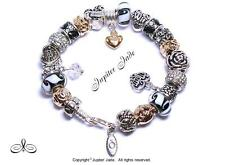 Authentic Pandora 925 Silver Bracelet Pugster Charms Wife Family Mom Black Gold