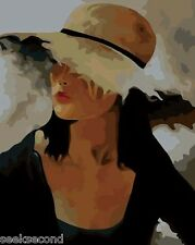 Framed Acrylic Painting by Number Kit 50x40cm (20x16'') Lady With Cap DIY LG7278