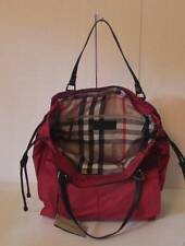Burberry Buckleigh Military Red packable tote zipper check nylon bag plaid new