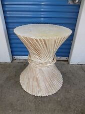 Bamboo Dining Table Sheaf of Wheat Base Rattan McGuire Style Hollywood Regency