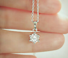 Solid Sterling Silver 925 Lab Diamond Solitaire Necklace 18""
